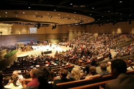 Custom Tiered Choral Seating Riser designed and built byStaging Dimensions for Apostolic Church, Auburn Hills, MI.